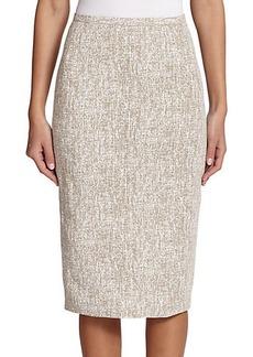 Michael Kors Crosshatch-Print Linen Pencil Skirt