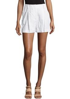 Michael Kors Crushed Pleated Shorts, White