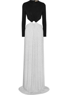 Michael Kors Crystal-embellished cutout stretch-crepe gown