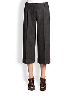 Michael Kors Cuffed Wool Flannel Culottes