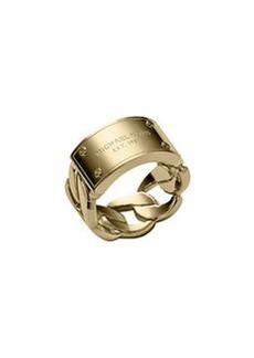Michael Kors Curb-Chain Logo Ring, Golden