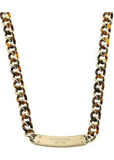 Michael Kors Curb-Chain Plaque Necklace, Golden
