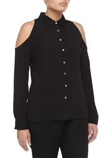 Michael Kors Cutout-Shoulder Long-Sleeve Crepe Blouse, Black