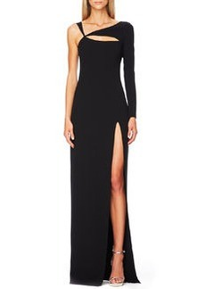 Michael Kors Cutout Single-Sleeve Gown, Black