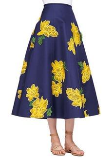 Michael Kors Dahlia-Embroidered Full Mikado Skirt