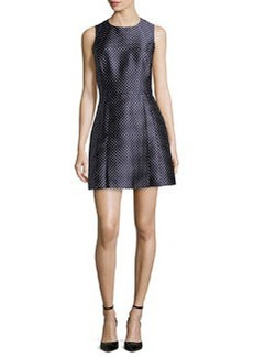 Michael Kors Dot Jacquard Mini Dress, Indigo/White