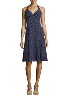 Michael Kors Dot-Print Halter-Neck Dress
