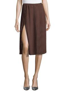 Michael Kors Dot-Tech Midi Skirt, Nutmeg/Optic White
