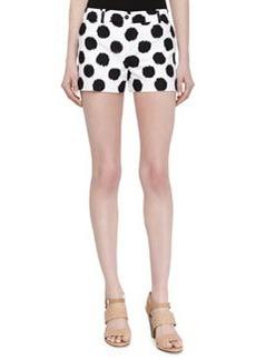 Michael Kors Dotted Ikat Print Shorts, Black/Optic White