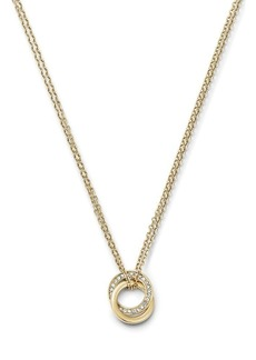 Michael Kors Double Chain Pave Pendant Rings Necklace, 16""