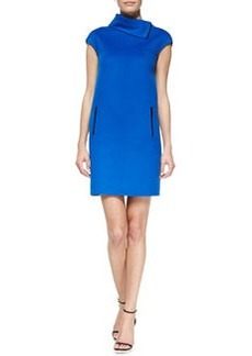 Michael Kors Double-Face Funnel-Neck Shift Dress