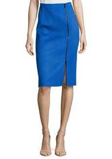 Michael Kors Double-Faced Zip-Front Pencil Skirt, Royal