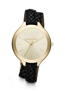 Michael Kors Double Wrap Black Leather Strap Slim Runway Watch, 42mm