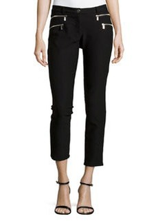 Michael Kors Double Zipper Skinny Jeans, Black