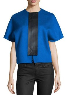Michael Kors Doubles-Face Wool Leather-Placket Jacket