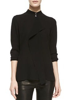 Michael Kors Drape-Front Silk Blouse, Black