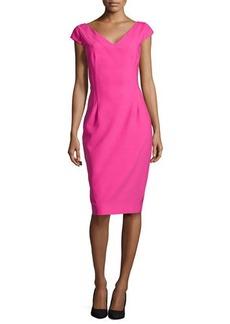 Michael Kors Drape-Skirt Crepe Dress, Begonia