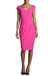 Michael Kors Drape-Skirt Crepe Dress, Begonia