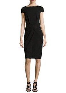 Michael Kors Draped Cap-Sleeve Dress, Black