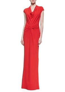 Michael Kors Draped Matte Jersey Gown, Coral