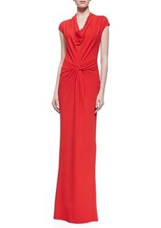 Michael Kors Draped Matte Jersey Gown, Coral