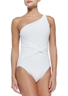 Michael Kors Draped Twisted One-Shoulder Swimsuit