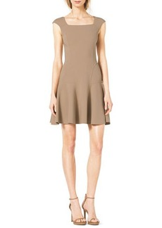Michael Kors Drop-Skirt Cap-Sleeve Crepe Dress