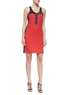 Michael Kors Duvatine Crushed Crepe-Trim Sleeveless Dress