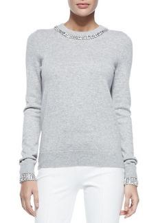 Michael Kors Embellished Cashmere Crewneck Sweater