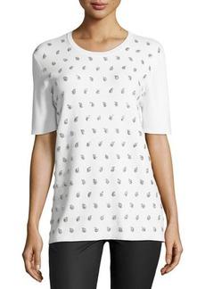 Michael Kors Embellished Paisley Short-Sleeve Top