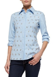 Michael Kors Embroidered Classic Button-Down Shirt