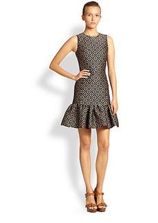 Michael Kors Eyelet Jacquard Ruffle-Hem Dress
