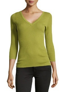 Michael Kors Featherweight Ribbed Cashmere V-Neck Top, Leaf