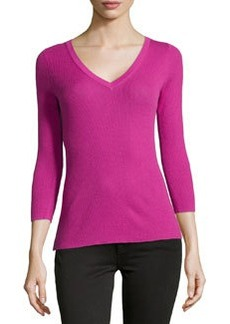 Michael Kors Featherweight Ribbed Cashmere V-Neck Top, Peony