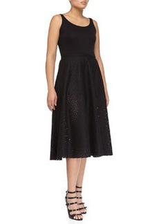 Michael Kors Felt Perforated Circle Skirt, Black
