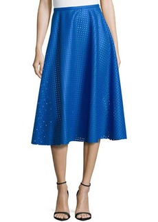 Michael Kors Felt Perforated Circle Skirt, Royal