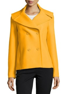 Michael Kors Felted Double-Breasted Pea Coat, Taxi Cab
