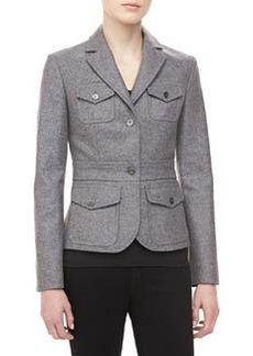 Michael Kors Felted Melange Wool Jacket, Banker