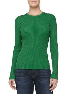 Michael Kors Fitted Crewneck Rib-Knit Sweater, Palm