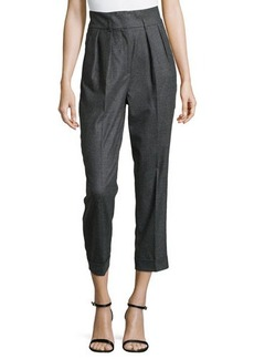 Michael Kors Flannel Pleated Crop Pants, Charcoal
