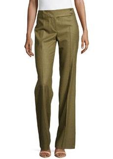 Michael Kors Flare-Leg Wool Trousers, Military
