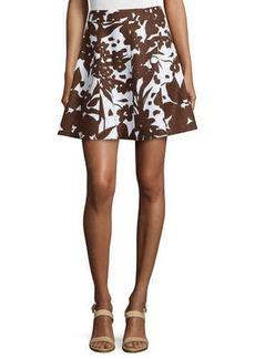 Michael Kors Flirt Printed A-Line Skirt, Optic White/Nutmeg