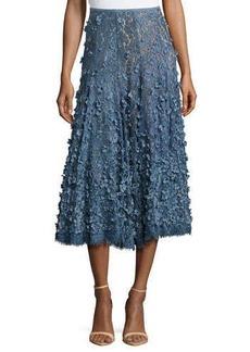 Michael Kors Floral Embroidered Dance Skirt, Blue