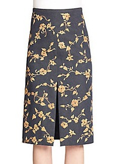 Michael Kors Floral Embroidered Denim Skirt