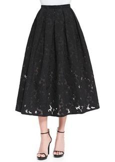 Michael Kors Floral Fil Coupe Midi Skirt, Black