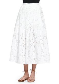 Michael Kors Floral Fil Coupe Midi Skirt, Optic White