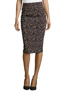 Michael Kors Floral Lace Knee-Length Pencil Skirt, Black/Nude