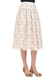 Michael Kors Floral Lace Mid-Calf Skirt, Muslin