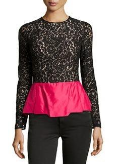 Michael Kors Floral Lace Peplum Top, Black