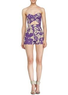 Michael Kors Floral-Print Bustier Jumpsuit, Hemp/Hyacinth